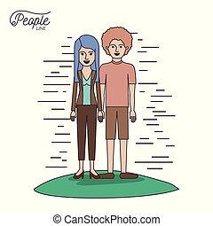 caricature couple people line casual clothes guy curly hair and woman with straight hairstyle standing in formal suit in grass on white background