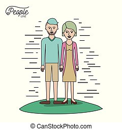 caricature couple people line casual clothes guy modern hairstyle and woman with straight hairstyle standing with dress in grass on white background
