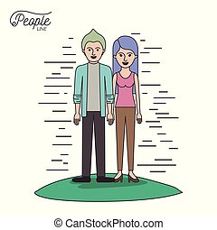 caricature couple people line casual clothes guy modern hairstyle and woman with straight long hairstyle standing in grass on white background