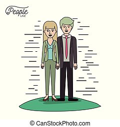 caricature couple people line man and woman with straight hair standing formal clothes in grass on white background