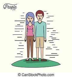 caricature couple people line woman in blouse and pants with side long hair and man standing casual clothes in grass on white background