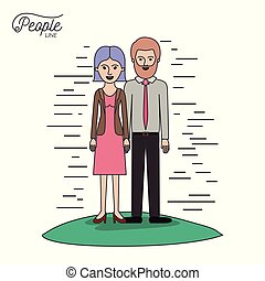 caricature couple people line woman in dress with straight short hair and bearded man standing formal clothes in grass on white background