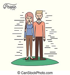 caricature couple people line woman with braided pigtails hair and bearded man standing casual clothes in grass on white background