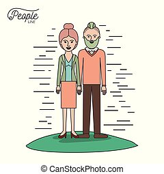 caricature couple people line woman with collected hair in skirt and man with modern hairstyle standing casual clothes in grass on white background