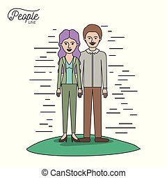 caricature couple people line woman with wavy long hair standing formal clothes and man with moustache in grass on white background
