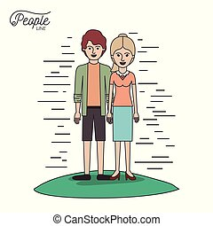 caricature couple people line young man and blonded woman with ponytail hair standing casual clothes in grass on white background