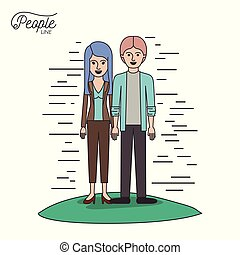 caricature couple people line young man and woman with straight long hair in casual wear standing in grass on white background