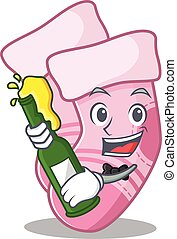 caricature design concept of baby socks cheers with bottle of beer