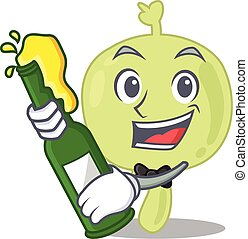 caricature design concept of lymph node cheers with bottle ...