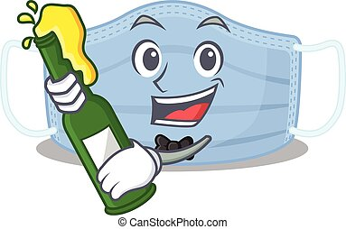 caricature design concept of surgical mask cheers with ...