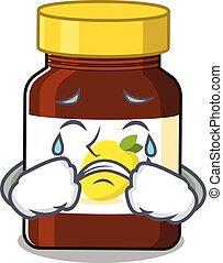 Caricature design of bottle vitamin c having a sad face. Vector illustration