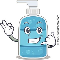 Caricature design of hand wash gel showing call me funny gesture
