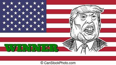 Caricature drawing portrait of Joe Biden.