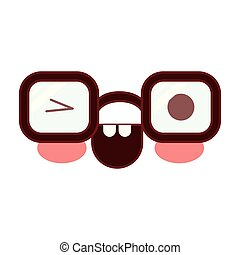 caricature glasses with eye wink expression in colorful silhouette with brown contour