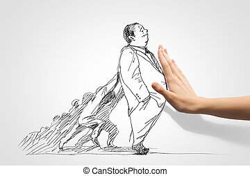 Caricature of businessman - Hand drawing image of...