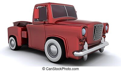 Caricature of GENERIC 50\'s pickup truck - 3D render of a...