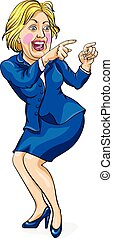 Caricature of Hillary Clinton, United States Democratic...
