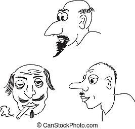 Caricature portraits. Vector illustration.