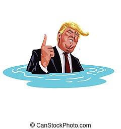 caricature, sinking., atout, donald, vecteur, 30, 2017, octobre, dessin animé, illustration.