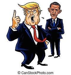 caricature, vecteur, 2017, donald, obama., drawing., atout, dessin animé, barack, illustration, septembre, 28