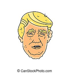 Caricature vector character illustration of USA president...