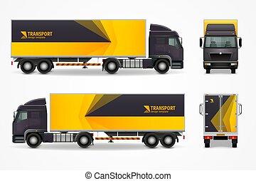 carico, annuncio, mockup, realistico, disegno, veicolo