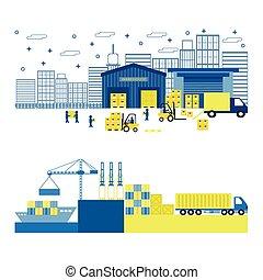 carico, appartamento, equipment., illustrazione, vettore, shipping., porto