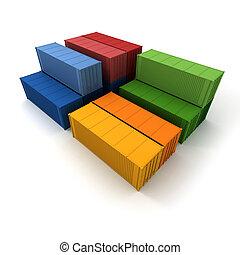 carico, colori, contenitori