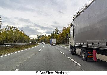 carico, concetto, trasporto, strada, superstrada, camion