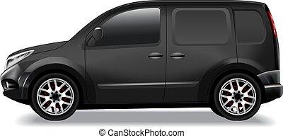 carico, furgone, automobile, mockup., commerciale, consegna, vettore