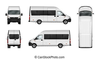 carico, furgone, città, minibus., commerciale, illustrazione, vettore, white., vuoto