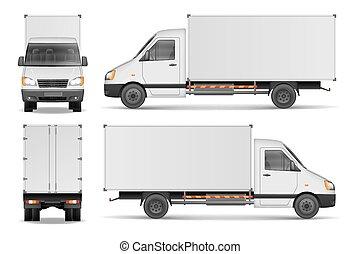 carico, furgone, città, mockup., commerciale, isolato, illustrazione, consegna, vettore, camion, white., veicolo, bianco, template.