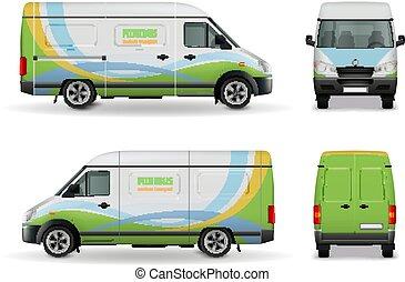 carico, furgone, mockup, realistico, disegno, pubblicità