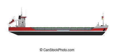 carico, grande, isolato, nave, vista laterale