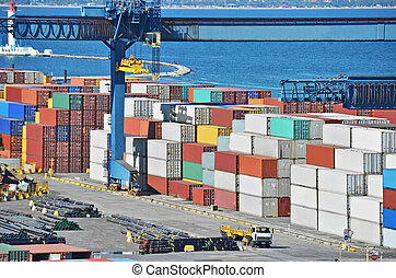 carico, gru, contenitore, porto