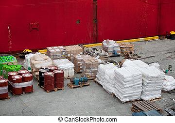 carico, in, porto