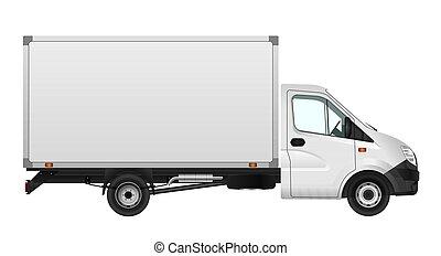 carico, minibus, furgone, città, commerciale, illustrazione, vettore, white., sagoma