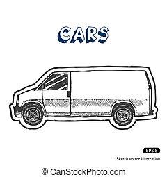 carico, minibus, trasporto