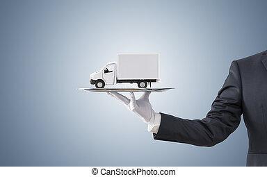 carico, offerta, camion consegna, uomo affari, vassoio, argento