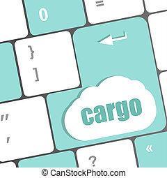 carico, parola, su, computer portatile, tastiera, chiave