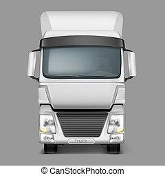 carico, realistico, camion, fronte, 3d, vista