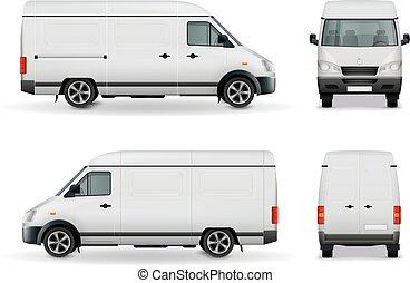 carico, realistico, furgone, pubblicità, mockup