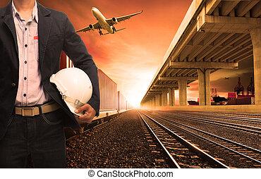 carico, terra, trasporto, affari, ponte, pista, industria, volare, ferrovie, aereo, logistico, treni, nave contenitore, esportazione, porto