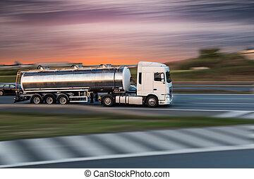 carico, trasporto, strada, concept., camion, serbatoio