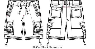carico, uomini, moda, calzoncini