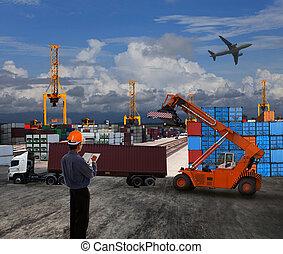 carico, uso, terra, contenitore, lavorativo, scena, bacino, tema, commercio, ufficiale, logistico, importazione, mondo, esportazione, trasporto, uomo