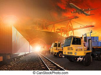 carico, uso, terra, sopra, volare, tutto, spedizione marittima, porto, consegna, aereo, camion, fondo, treni, nave, logistico