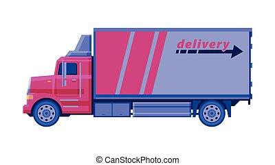 carico, vettore, rosa, scuro, trasporto, appartamento, ...
