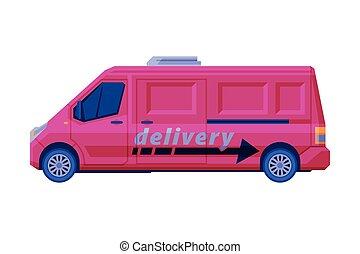 carico, vettore, rosa, scuro, trasporto, trasporto, furgone...