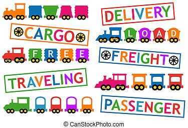 carico, viaggiare, trasporto, treni